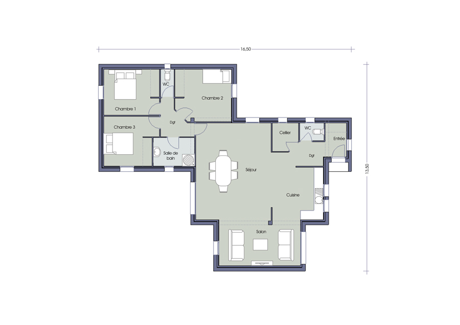 Latest chambres with plan maison 60m2 for Chambre 60m2